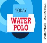 Text sign showing Water Polo. Conceptual photo competitive team sport played in the water between two teams Blank banner rectangle square above semicircle down Geometrical background.