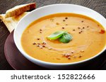 Squash Soup With Basil Leaf An...