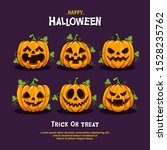 halloween party pumpkins set... | Shutterstock .eps vector #1528235762