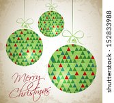merry christmas card with three ... | Shutterstock .eps vector #152833988