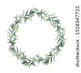 Watercolor Winter Wreath With...