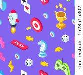 video games seamless pattern.... | Shutterstock .eps vector #1528515302