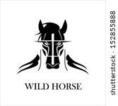 Stock vector horse stallion mascot mustang hairy black wild horse 152855888