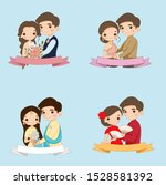 cute bride and groom cartoon...   Shutterstock .eps vector #1528581392