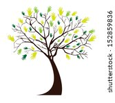 hands tree over white... | Shutterstock .eps vector #152859836