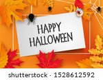 scary banner with autumn leaves ... | Shutterstock . vector #1528612592