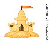 set of sand castles of... | Shutterstock .eps vector #1528624895