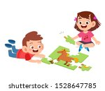 happy cute kids play solve... | Shutterstock .eps vector #1528647785