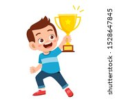 happy cute kid boy win game... | Shutterstock .eps vector #1528647845