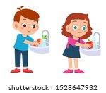 Happy Cute Kids Wash Vegetable...