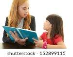 english teacher with girl...   Shutterstock . vector #152899115