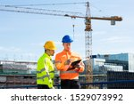 male architect giving... | Shutterstock . vector #1529073992