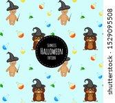 halloween seamless pattern with ... | Shutterstock .eps vector #1529095508
