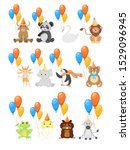 colorful party set with cute... | Shutterstock .eps vector #1529096945