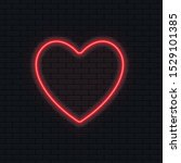 Neon Heart. Brightly Red Neon...