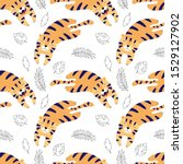 cute tigers lay  cartoon vector ... | Shutterstock .eps vector #1529127902