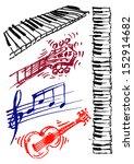 guitar  keyboard  music  set of ...   Shutterstock .eps vector #152914682