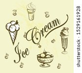 a vintage poster of ice cream... | Shutterstock .eps vector #1529161928