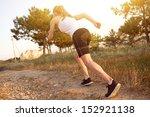 sporty fitness girl running on...   Shutterstock . vector #152921138