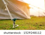 Close Up Of Tent Peg Anchor On...