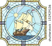 Vector mosaic with large cells of sailing ships of the 17th century in round stained-glass window frame. - stock vector