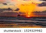 Sunset Sea Horizon Cargo Ship...