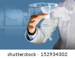 woman scientist touching dna... | Shutterstock . vector #152934302