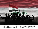 Political relationships. Iraqi Flag background with protesting people. Conflict and revolution.