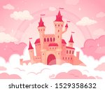 cartoon castle in pink clouds.... | Shutterstock .eps vector #1529358632
