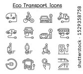 eco transport icon set in thin... | Shutterstock .eps vector #1529358758