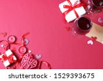 red wine  hearts  red roses and ... | Shutterstock . vector #1529393675