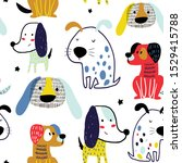 seamless pattern with funny... | Shutterstock .eps vector #1529415788