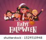 poster for halloween kids party.... | Shutterstock .eps vector #1529510948
