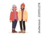 married couple dressed in... | Shutterstock .eps vector #1529511278