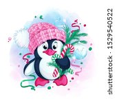 Cute Penguin In A Knitted Pink...