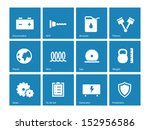 tools icons on blue background. ...