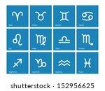zodiac icons on blue background....