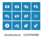 dollar banknote blue icons on...