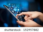 hand touching tablet pc  social ... | Shutterstock . vector #152957882