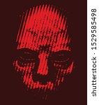 horror red evil skull halftone... | Shutterstock .eps vector #1529585498