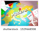Modena city travel and tourism destination concept. Italy flag and Modena city on map. Italy travel concept map background. Tickets Planes and flights to Modena holidays Italian vacation