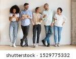 happy diverse people using... | Shutterstock . vector #1529775332