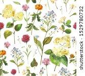hand drawn watercolor seamless... | Shutterstock . vector #1529780732