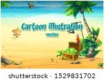 ocean coast with a chest ... | Shutterstock .eps vector #1529831702