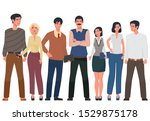 team of cute cheerful men and... | Shutterstock .eps vector #1529875178
