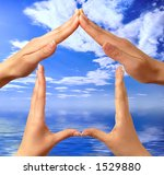 Female hands showing home sign over sky blue summer seascape background conceptual isolated with clipping path - stock photo