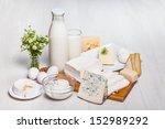 milk bottle and glass on wooden ...   Shutterstock . vector #152989292