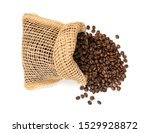 brown coffee beans in burlap... | Shutterstock . vector #1529928872