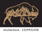 American Bison With Mountain...