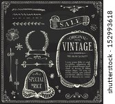 line vintage blackboard doodle...   Shutterstock .eps vector #152993618